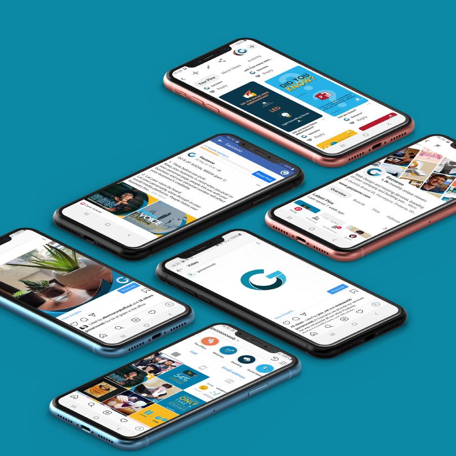 gazzaroo website design branding socialmediamanagement blue gazzaroo social media - Social Media Management